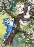 ACARDS Catch the Cat / Katzen spielen fangen auf Baum - Irina Zeniuk Postkarte