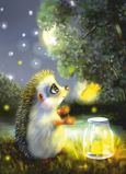 ACARDS Night Fairies / Igel mit Nachtelfen - Irina Glushenko Postkarte