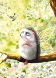 ACARDS Igel mit Flügeln auf Blütenzweig - Irina Glushenko Postkarte