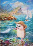 ACARDS Igel am Meer - Irina Glushenko Postkarte