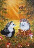 ACARDS Igelpaar auf Pilzwiese - Irina Glushenko Postkarte