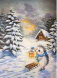 ACARDS Igel mit Schlitten im Winter - Irina Glushenko Postkarte