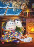 ACARDS Igel lesen auf Sessel im Winter - Irina Glushenko Postkarte