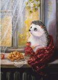 ACARDS Igel auf Fensterbrett im Herbst - Irina Glushenko Postkarte