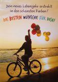 GOLDBEK Die besten Wünsche für Dich / Frau mit Fahrrad + Ballons FairMail Postkarte