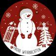 GOLLONG Frohe Weihnachten / Schneemann auf Rot - Wiebke Wichmann Postkarte rund
