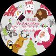 GOLLONG Fröhliche Weihnachten / Weihnachtsmann, Schneemann, Tiere - Shutterstock Postkarte rund