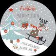 GOLLONG Fröhliche Weihnachten / Rentier auf Schlitten - Katrin Lorenz Postkarte rund