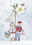 GOLLONG Frohes Fest / zwei Kinder mit Christrose - Kerstin Heß Postkarte