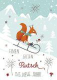GOLLONG Einen guten Rutsch ins neue Jahr / Eichhörnchen - Katrin Lorenz Postkarte