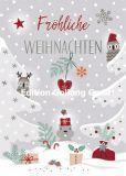 GOLLONG Fröhliche Weihnachten / Eulen + Nager im Schnee - Katrin Lorenz Postkarte