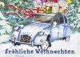 GOLLONG Fröhliche Weihnachten / Käfer mit Geschenken auf Dach - Sabrina Comizzi Postkarte