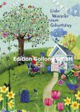 GOLLONG Liebe Wünsche zum Geburtstag / lesende Frau im Garten - Mila Marquis Postkarte