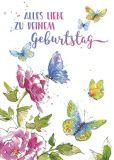GOLLONG Alles Liebe zu Deinem Geburtstag / Blumen + Schmetterlinge - Carola Pabst Postkarte