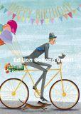 GOLLONG Happy Birthday / Fahrradfahrer - Mila Marquis Postkarte