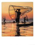 AQUAPURELLA Fischer auf dem Inle See, Myanmar - Bon Voyage Postkarte + Umschlag