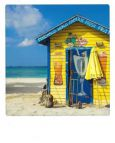 AQUAPURELLA Strandhaus auf den Bahamas, Karibik - Bon Voyage Postkarte + Umschlag