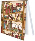 RANNENBERG Katze im Bücherregal Klebezettel Block