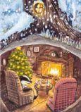 ACARDS Dachs und Hase trinken Tee in Höhle - Ema Malyauka Postkarte