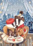 ACARDS Love Time / Dachspaar im Café - Ema Malyauka Postkarte