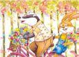 ACARDS Dachs und Hase auf Fahrrad - Ema Malyauka Postkarte