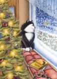 ACARDS Snowing at Christmas / Katze am Fenster - Ema Malyauka Postkarte