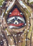 ACARDS Waschbär im Baum - Ema Malyauka Postkarte