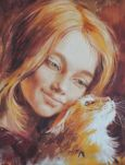 ACARDS Mädchen mit roter Katze - Olga Simonova Postkarte