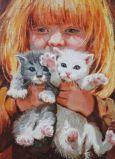 ACARDS Mädchen mit zwei Babykatzen - Olga Simonova Postkarte