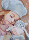 ACARDS Mädchen mit grauer Katze - Olga Simonova Postkarte