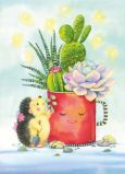 ACARDS Igel mit Kakteen in roter Tasse - Evgenia Chistotina Postkarte