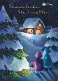 GRÄTZ Besinnliche Weihnachten / Zwei Kinder bei Krippe Doppelkarte