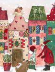 GRÄTZ Frohes Fest / Weihnachtsmann vor Häusern Doppelkarte
