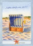 WUP Strandkorb mit Gruß Postkarte