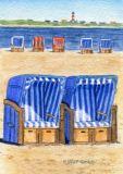 WUP Strandkörbe + Leuchtturm Postkarte
