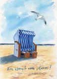 WUP Strandkorb + Möwe Postkarte