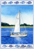 WUP Segelboot Bordüre Postkarte