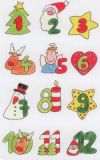 BSB Gemalte Adventskalenderzahlen 1-24 Sticker
