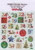 HobbyFun Adventszahlen mit Glitter Hobby-Design Sticker