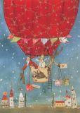 GRÄTZ Weihnachtsmann im Heißluftballon Postkarte