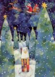 GRÄTZ Weihnachtsschlitten über Winterwald Postkarte