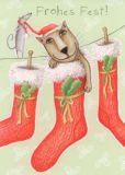 GRÄTZ Frohes Fest - Katze in Weihnachtsstrumpf Postkarte