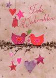 GRÄTZ Frohe Weihnachten - Vögel auf Zweig Postkarte