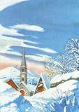 DECAdry Verschneites Dorf Briefpapier A4
