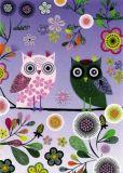 ROGER LA BORDE Elegant Owls purple Glitzer Postkarte