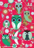 ROGER LA BORDE Elegant Owls red Glitzer Postkarte