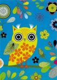 ROGER LA BORDE Elegant Owl turquoise Glitzer Postkarte