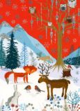 WENDEKREIS Forest Xmas Party glitter postcard
