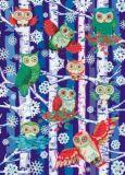 ROGER LA BORDE Woodland Owls Glitzer Postkarte