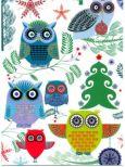 ROGER LA BORDE Elegant Xmas Owls Glitzer Postkarte